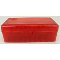 FS Reloading Plastic Ammo Box Large Pistol 50 Round Translucent Red Scratched