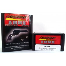 Lightning Ammo Hard Cast 9mm Caliber, .356 Diam., 147 gr., FP Lead Bullets