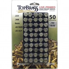Top Brass .40 S&W Brass 50 Pieces Primed Nickel with Tray