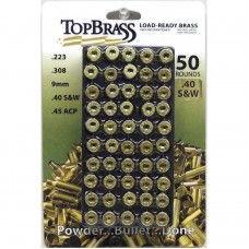 Top Brass .40 S&W Brass 50 Pieces Unprimed with Plastic Tray