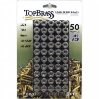 Top Brass .45 ACP Brass 50 Pieces Primed Nickel with Plastic Tray