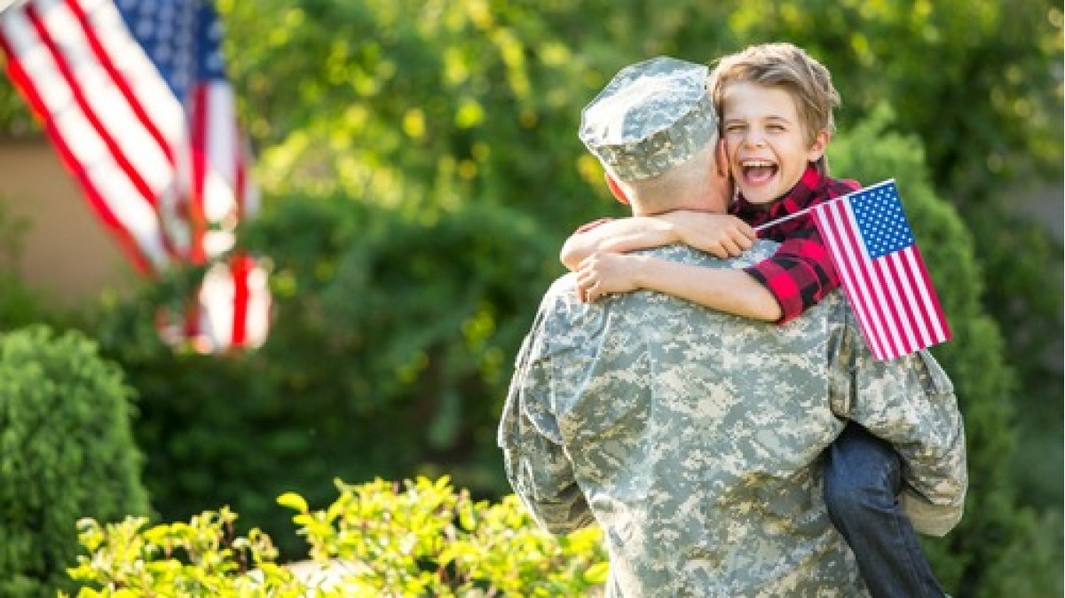 Young Boy with Soldier Dad