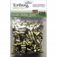 9mm Luger Brass 250 Pieces Primed Bulk Package