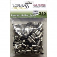 9mm Luger Brass 250 Pieces Primed Nickel Bulk Package
