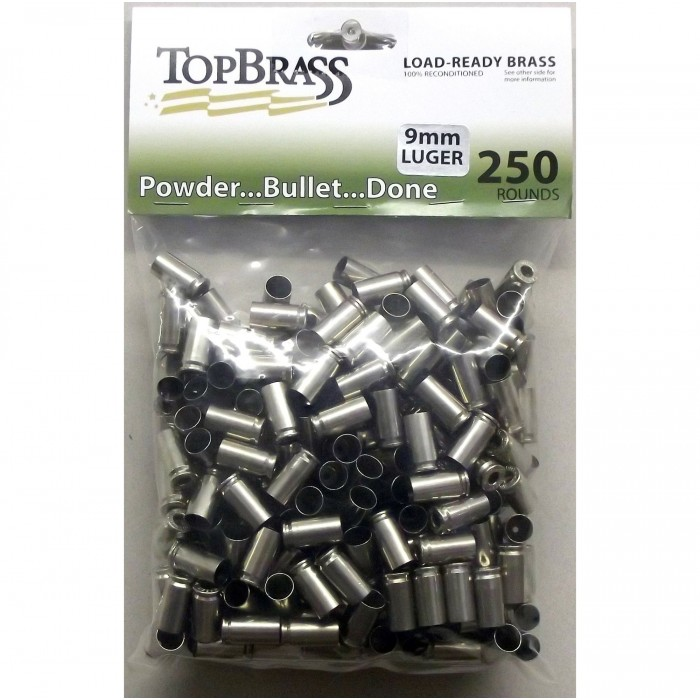 Top Brass 9mm Luger Brass 250 Pieces Primed Nickel Bulk Package