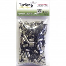 .45 ACP Brass 250 Pieces Unprimed Nickel Bulk Package