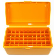 FS Reloading Plastic Ammo Box Large Rifle 50 Round Solid Amber Scratched