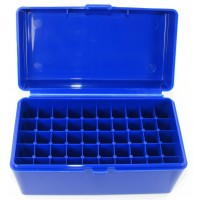 FS Reloading Plastic Ammo Box Medium Rifle 50 Round Solid Blue Scratched