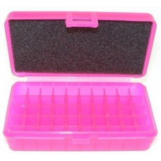 FS Reloading Plastic Ammo Box Small Pistol 50 Round Translucent Pink Scratched