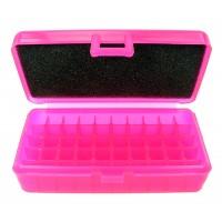 FS Reloading Plastic Ammo Box Small Pistol 50 Round Translucent Pink