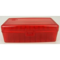 FS Reloading Plastic Ammo Box Large Pistol 50 Round Translucent Red