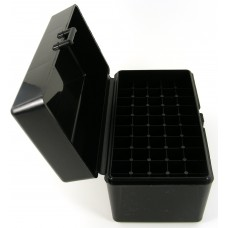 FS Reloading Plastic Ammo Box Large Rifle 50 Round Solid Black Scratched