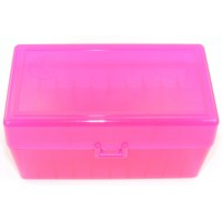FS Reloading Plastic Ammo Box Medium Rifle 50 Round Translucent Pink