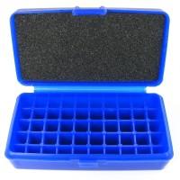 FS Reloading Plastic Ammo Box Small Pistol 50 Round Solid Blue