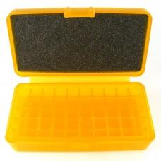 FS Reloading Plastic Ammo Box Small Pistol 50 Round Translucent Amber