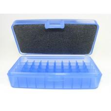 FS Reloading Plastic Ammo Box Small Pistol 50 Round Translucent Blue