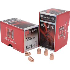 Hornady FMJ Bullets 9mm .355 115 Grain box of 100