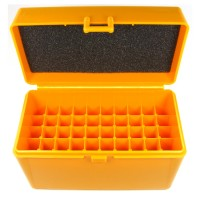 FS Reloading Plastic Ammo Box Large Rifle 50 Round Solid Amber
