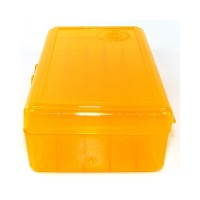 FS Reloading Plastic Ammo Box Automatic Pistol 50 Round Translucent Amber