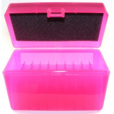 FS Reloading Plastic Ammo Box Large Rifle 50 Round Translucent Pink
