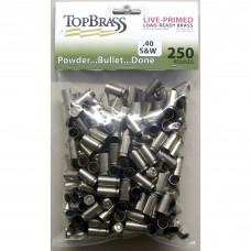Top Brass .40 S&W Brass 250 Pieces Primed Nickel Bulk Package