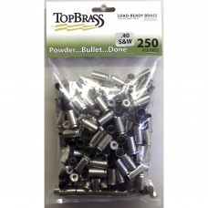 Top Brass .40 S&W Brass 250 Pieces Unprimed Nickel Bulk Package