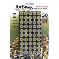 Top Brass .45 ACP Brass 50 Pieces Primed with Storage Tray
