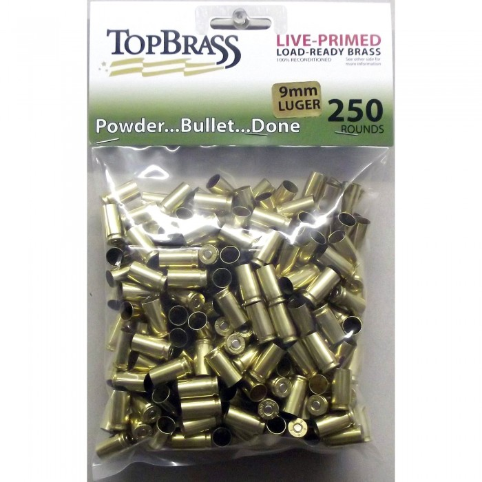 Top Brass 9mm Luger Brass 250 Pieces Primed Nickel Bulk Package