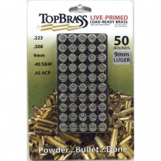 Top Brass 9mm Luger Brass 50 Pieces Primed Nickel with Storage Tray