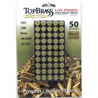 Top Brass 9mm Luger Brass 50 Pieces Primed with Storage Tray
