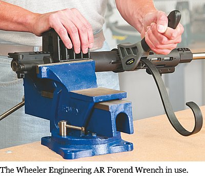 The Wheeler Engiineering Forend Wrench holds your parts securely without marring them